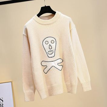 Women Knitted Sweater Long Sleeve O-Neck Skull Casual Pullover