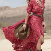 Casual Red Floral Print Maxi Dress Vee Neckline