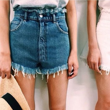 Summer High Rise Denim Tassels Pants Shorts [6034256577]