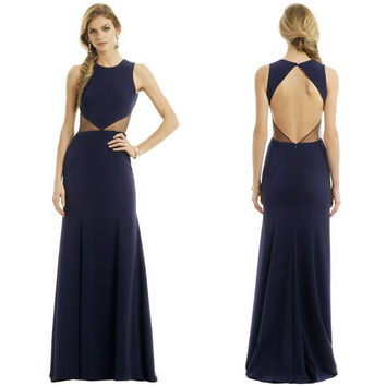 Unique Design Sexy Long Navy Blue Chiffon Mermaid Prom Dresses Party Evening Gown Formal Halter Open Back Vestidos De Festa
