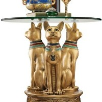 Ancient Egyptian Basset Cat Sculpture Statue Decorative Occassional Side Table