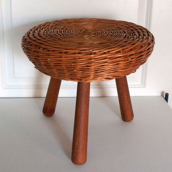 1950's Mid Century Modern Stool Tony Paul Basket Weave 3 leg stool - Simple - Organic - Modern - VINTAGE FURNITURE