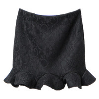 Black Lace Ruffled Hem Mini Skirt