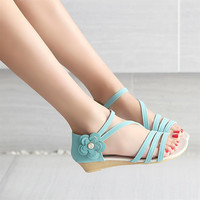 Summer Design Stylish Flat Wedge Hollow Out Casual Shoes Sandals [6031699137]