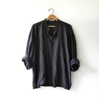 vintage silk & cotton black shirt. Oversized striped shirt. Silky black henley.