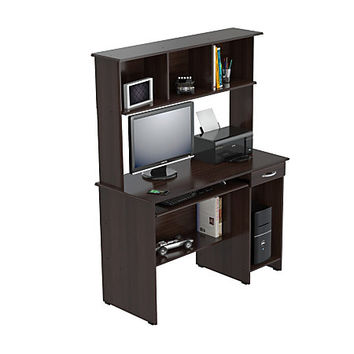 Inval Computer Workcenter With Hutch, Espresso-Wengue Item # 290586