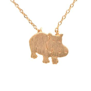 Handcrafted Brushed Metal Hippo Necklace