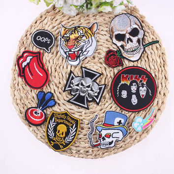 1Pcs Mixture Sell Cool Punk Rock Patch Badges For Clothes Stickers Iron On Cheap Embroidered Outlaw Biker Patches For Clothing