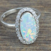 HOT!! White Fire Opal Zircon Women Jewelry Gemstone Silver Ring Size 5-12 OJ5310