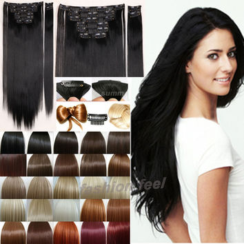 "8Pcs/set 24"" 60CM Straight Full head Clip in on Hair Extensions Black Brown Blonde red auburn"