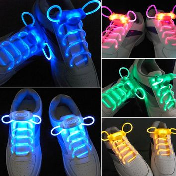 LED Sport Shoe Laces Flash Light Glow Stick Strap Shoelaces Disco Party Club 4 Colors Hot Selling