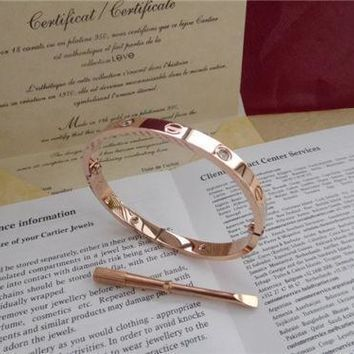 -Auth. 18KT ROSE GOLD SZ 17CM -Cartier-Love Bangle Bracelet W/4DIAMONDS