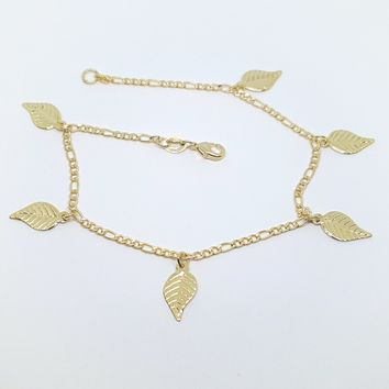 1-0149-h2 Gold Overlay Leaf Charms Anklet, 9-1/2""