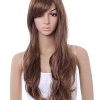 Amazon.com: Stunning beautiful long LIGHT BROWN curly wave wig full wigs jf010023: Beauty