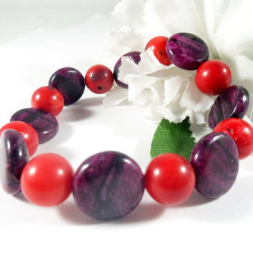 Purple Sugilite Stone & Red Bamboo Coral Beaded Bracelet, Red Coral Bracelet, Purple Bracelet, Sugilite Bracelet, Stretch Bracelet for Her
