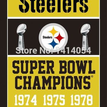 Pittsburgh Steelers Super Bowl Champions Flag 150X90CM Banner 100D Polyester3x5 FT flag brass grommets 001, free shipping