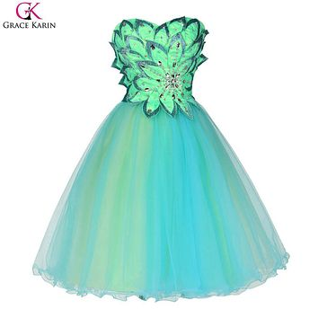 Short Prom Dresses Grace Karin Tulle Elegant Formal Ball Gowns Bead Wedding Party Gown Events Knee Length Special Occasion Dress