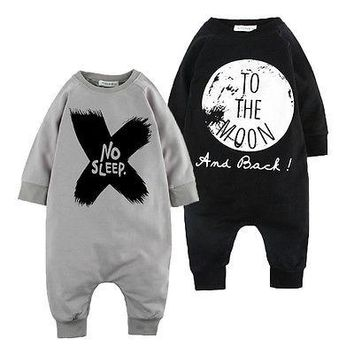 New Toddler Baby Girls Boys Long Sleeves Romper Outfits Set Pajamas Sleepwear Clothes 0-24M SS