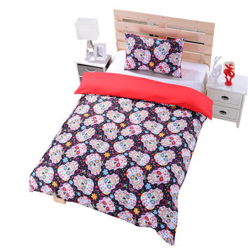 New Sugar Skull Bedding Duvet Cover Set Twin Full Queen Sugar Skull Bedding CA AU US UK Size Skull Bed Sheets