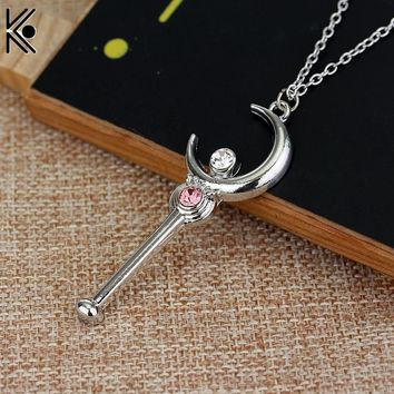 Sailor Moon Stick With Crystal Pendant Moon Necklaces
