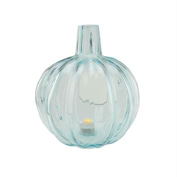 "9"" Transparent Light Blue Glass Pumpkin Shaped Pillar Candle Holder"