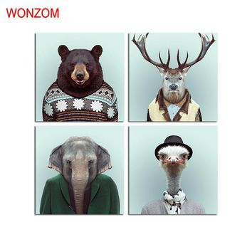 WONZOM Bear Canvas Art Animal Decorative Pictures Deer Poster Retro Elephant Wall Canvas Pictures For Home Decor Gift No Frame