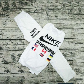 NIKE Print Round Neck Pullover Top Sweater Pants Sweatpants Set Two-Piece Sportswear