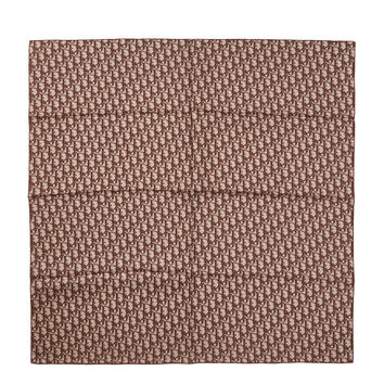 Christian Dior Women's Brown Logo Print Silk Scarf, 88cm x 86cm - Brown