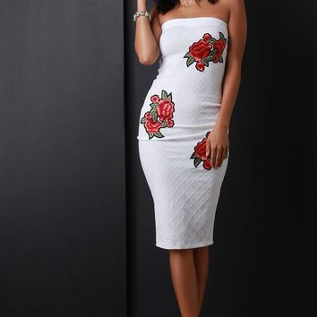 Floral Applique Quilted Tube Midi Dress