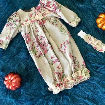 2018 Fall Isobella & Chloe Seraphina Stunning Flower Infant Gown With Headband