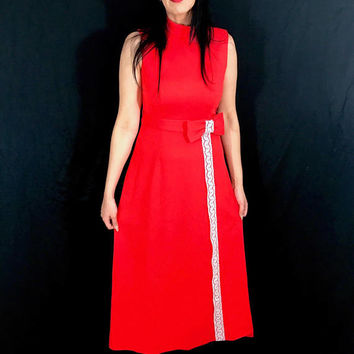 Vintage 60s Mod Red Stretch Polyester Long Aline High Neck Sleeveless Maxi Dress with Bow Belt Attached M // L