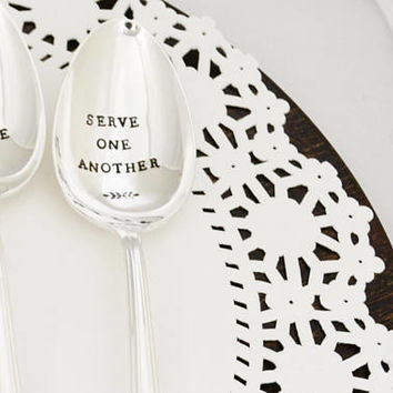 serving spoons -hand stamped holiday serving set- Christmas table decoration-hostess gift idea