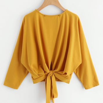 Yellow Top Overlap Tie Back Cute Sweatshirts
