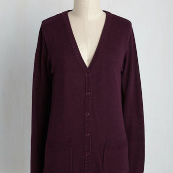 Have a Good Knit Cardigan in Mulberry