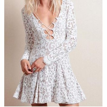 FASHION HOT LACE LONG SLEEVE DRESS