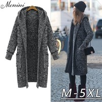 MCKIKI 2016 winter ladies elegant  5 xl super big yards long thickening hooded sweater cardigan slim wool women Black coat