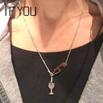IF YOU 1PC Bottle Wine Cup Long Pendant Chain Necklace Gold Silver Color For Women Beer Party Gift Stainless Steel Necklaces
