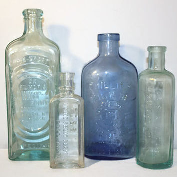 Antique Collection of Glass Bottles, Apothecary Medicine Rustic Decor