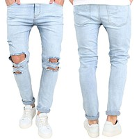Mens Ripped Slimfit Skinny Jeans Stretch Denim Distress Frayed Biker Jeans Boys Casual Hole Pencil Pants