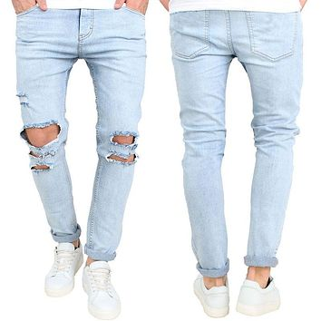 2017 Mens Ripped Slimfit Skinny Jeans Stretch Denim Distress Frayed Biker Jeans Boys Hole Pencil Pants