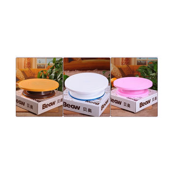 Beowulf Birthday Cake Decorating Taiwan turntable turntable baking scale slip plastic bakeware 3 color options   Pink