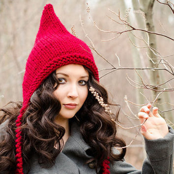 Hand Knit Hat Pixie Hat in Red Cranberry Winter by pixiebell