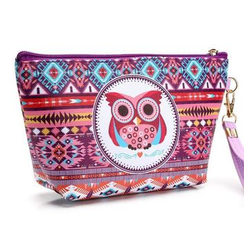 ESBU3C Girl's Cute Owl Cosmetic Bag Travel Organizer Functional Makeup Pouch Case Beautician Toiletry Kit Accessories Supply Products