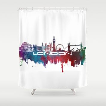 London skyline city blue  Shower Curtain by Jbjart