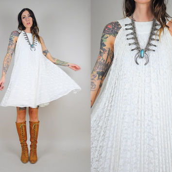 70's SHEER white lace Trapeze Dress