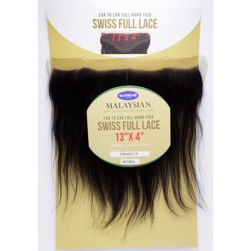 100% HUMAN HAIR- SWISS FULL LACE 13 x 4 inch  CLOSURE - STRAIGHT 12""