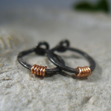 Hoop Earrings Niobium with Copper