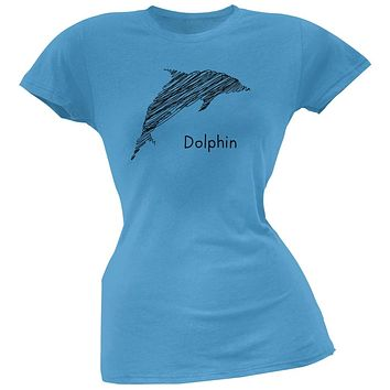Dolphin Scribble Drawing Light Blue Juniors Soft T-Shirt