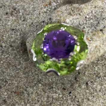 Vintage Handmade 925 Sterling Silver Purple Amethyst amd peridot Deco Stud Earrings