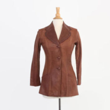 Vintage 70s LEATHER JACKET / 1970s GLASSWATER Tan Brown Leather Fitted Jacket Soft Buttery Xs - S